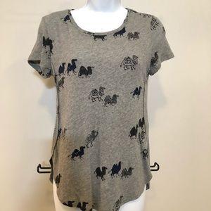Ann Taylor Gray Camel Tshirt XS